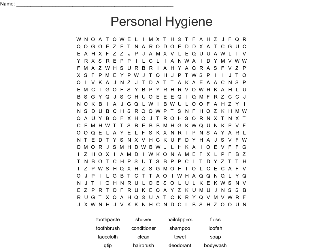 Personal Hygiene Word Search - Wordmint