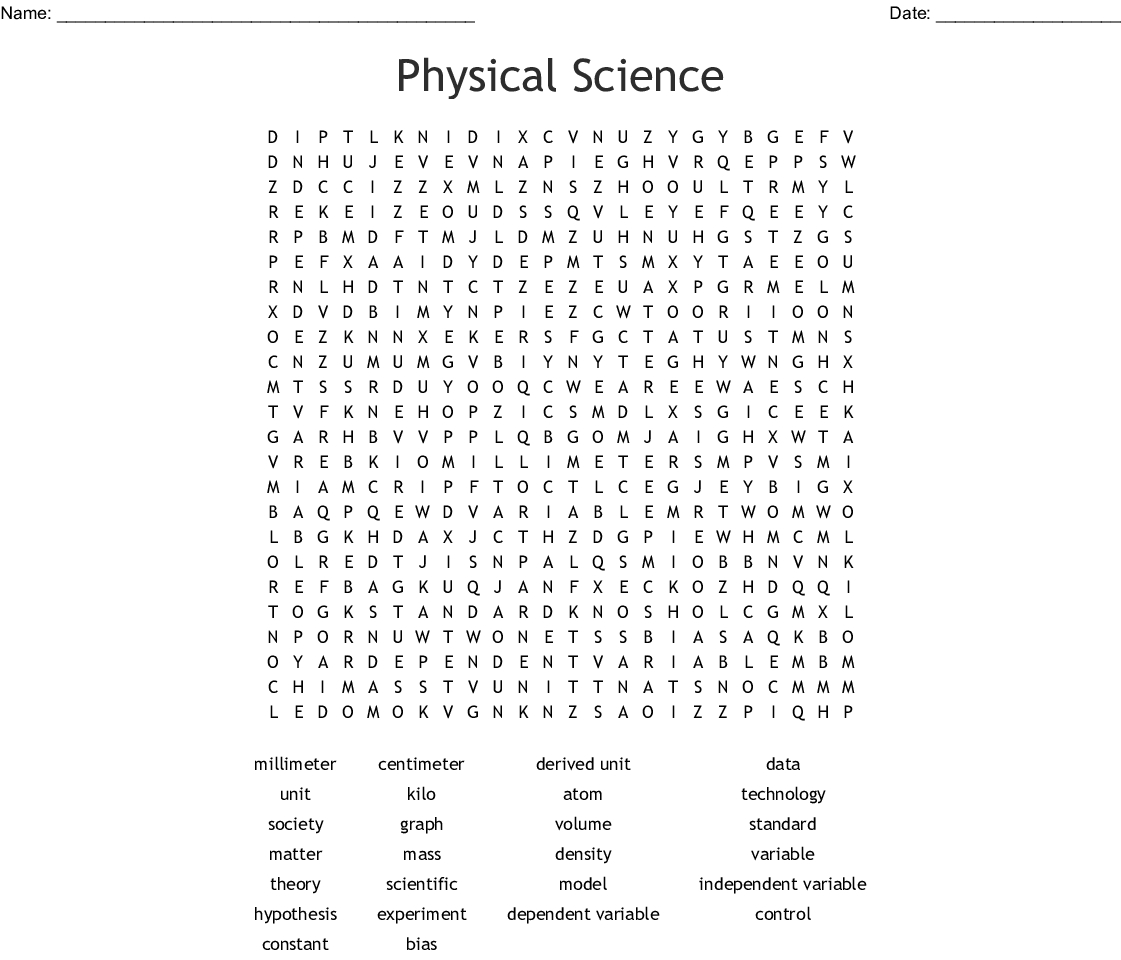 Physical Science Word Search - Wordmint