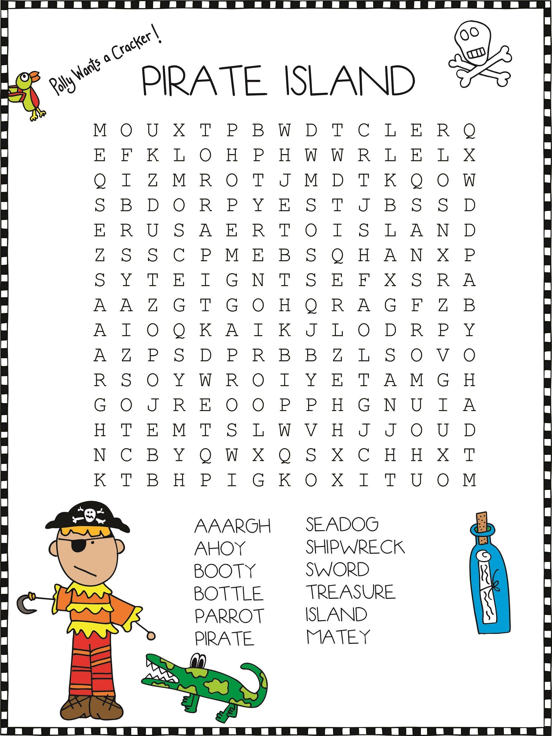 Pirate Word Search For Kids | K5 Worksheets | Pirate Words