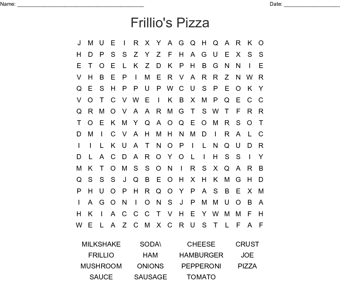 Pizza Toppings Word Search - Wordmint