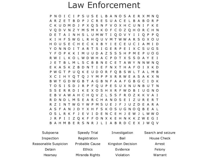 Police Word Search Printables