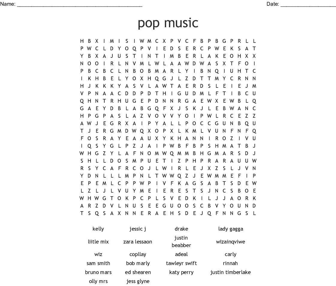Pop Music Word Search - Wordmint