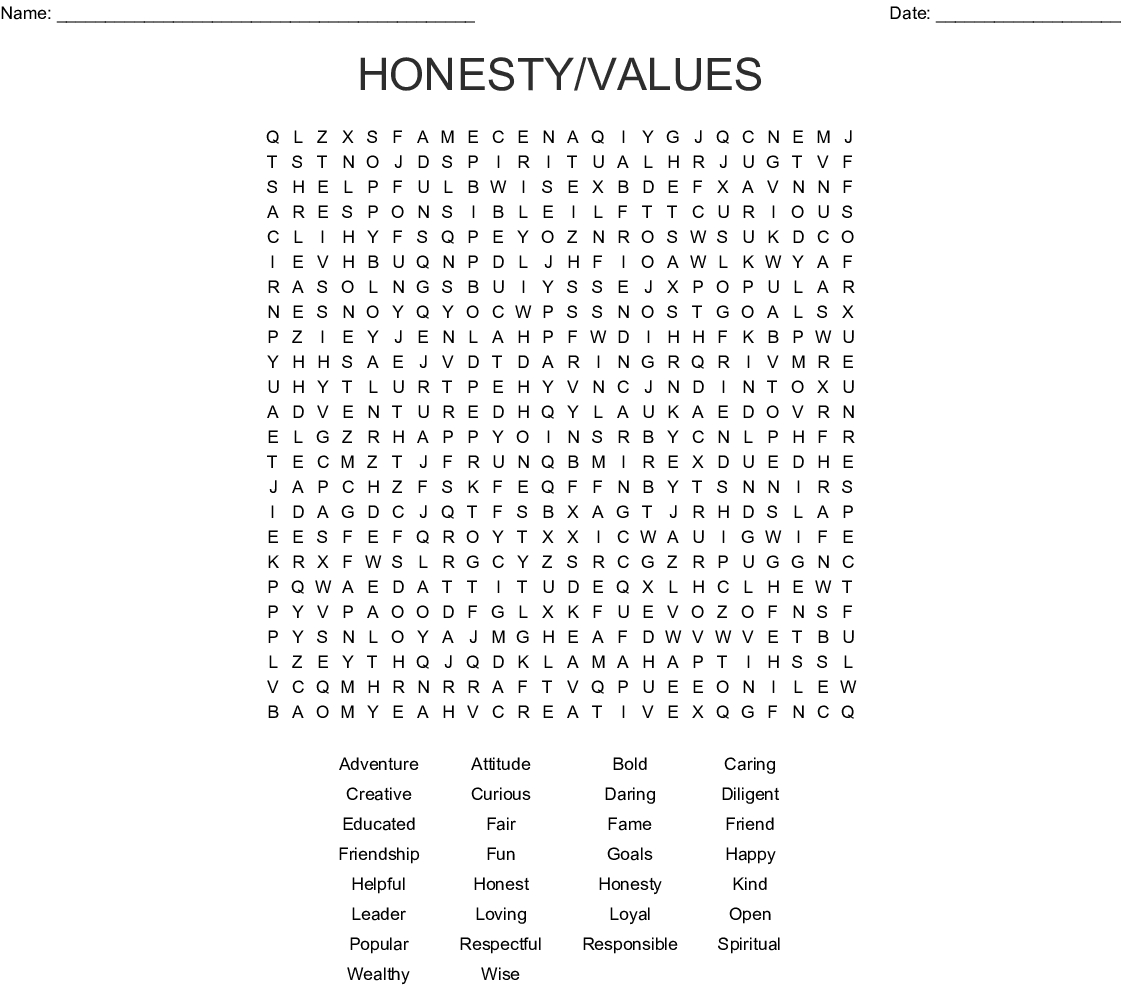 Positive Words Word Search - Wordmint