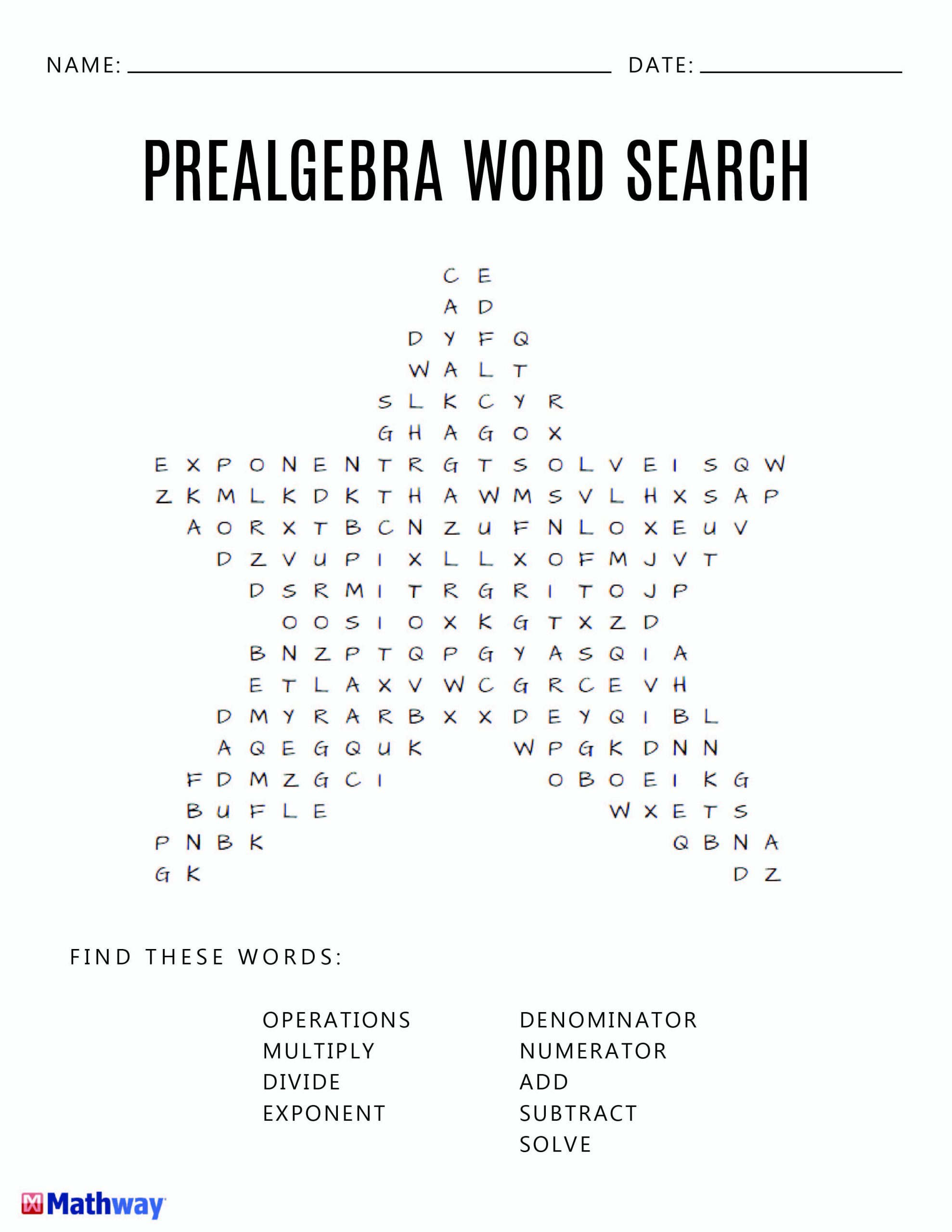 Pre-Algebra Star Word Search Activity. A Good Filler