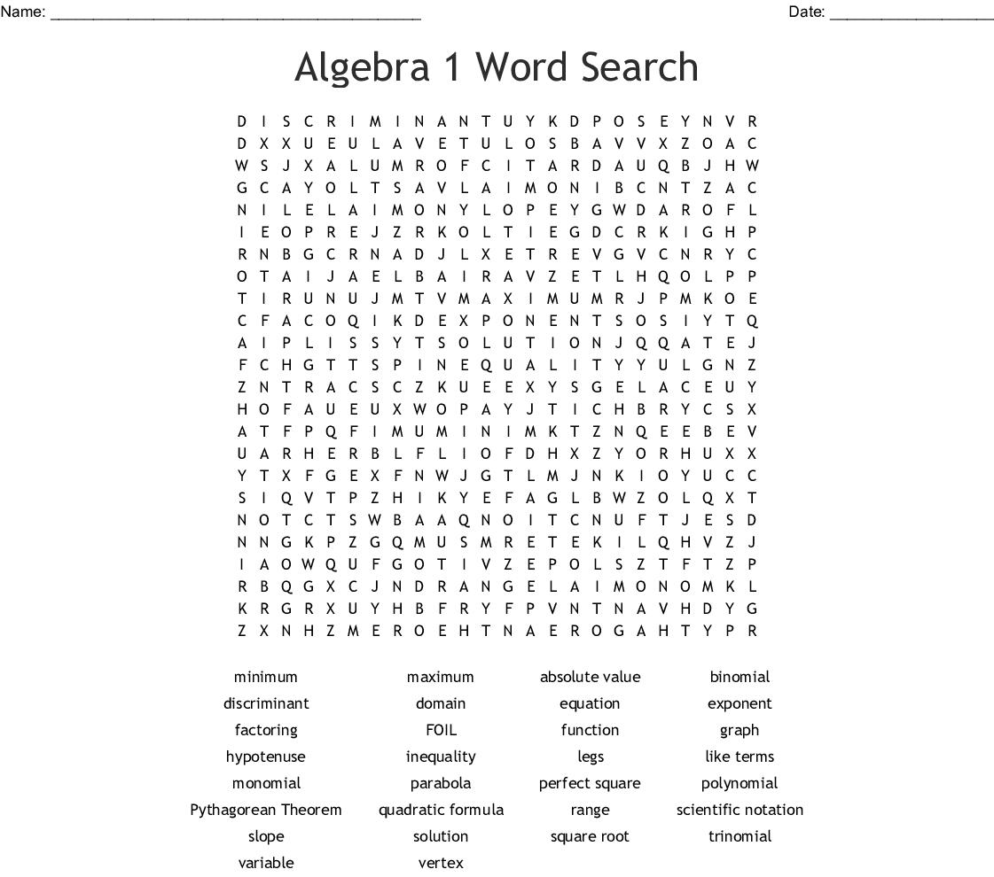 Pre-Algebra Word Search - Wordmint