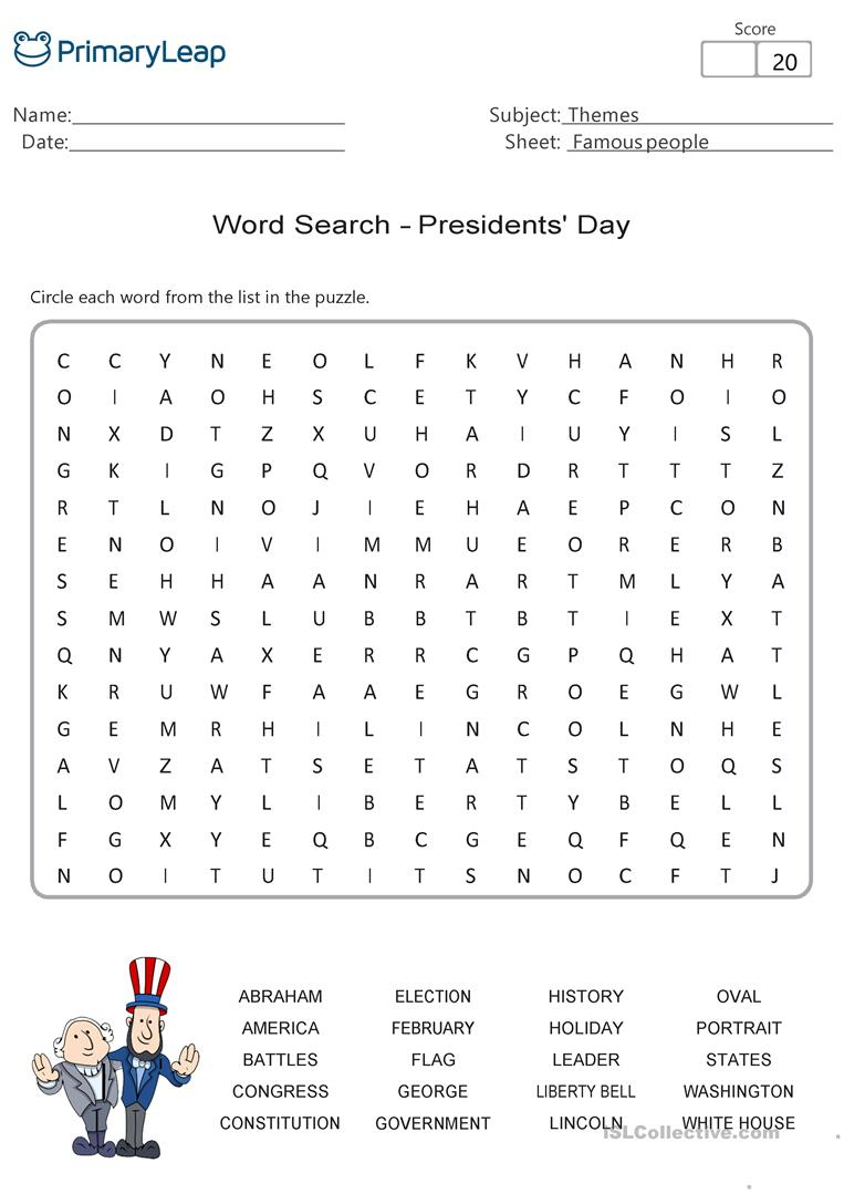 Presidents' Day - Word Search Activity - English Esl