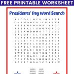 Presidents' Day Word Search Free Printable Worksheet