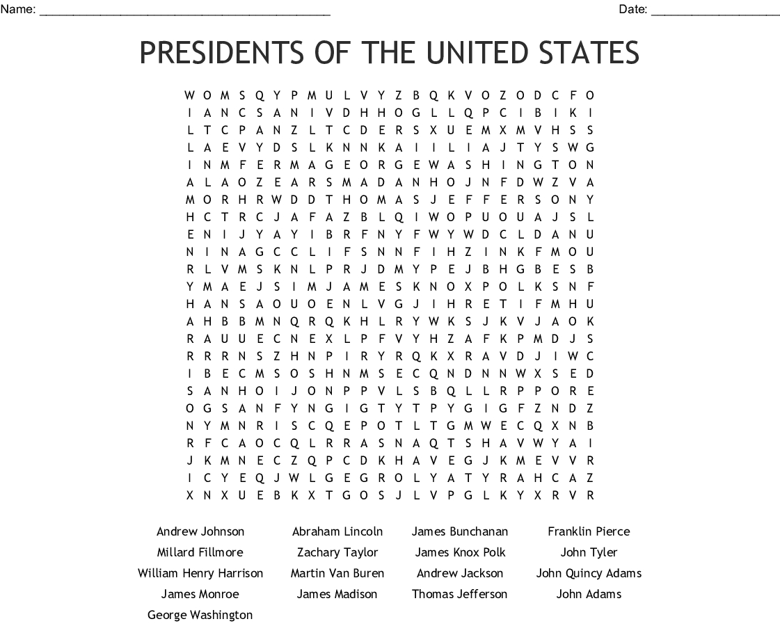 Presidents Of The United States Word Search - Wordmint