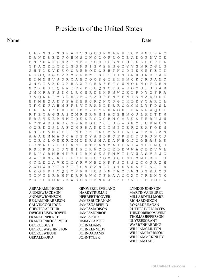 Presidents Wordsearch - English Esl Worksheets For Distance