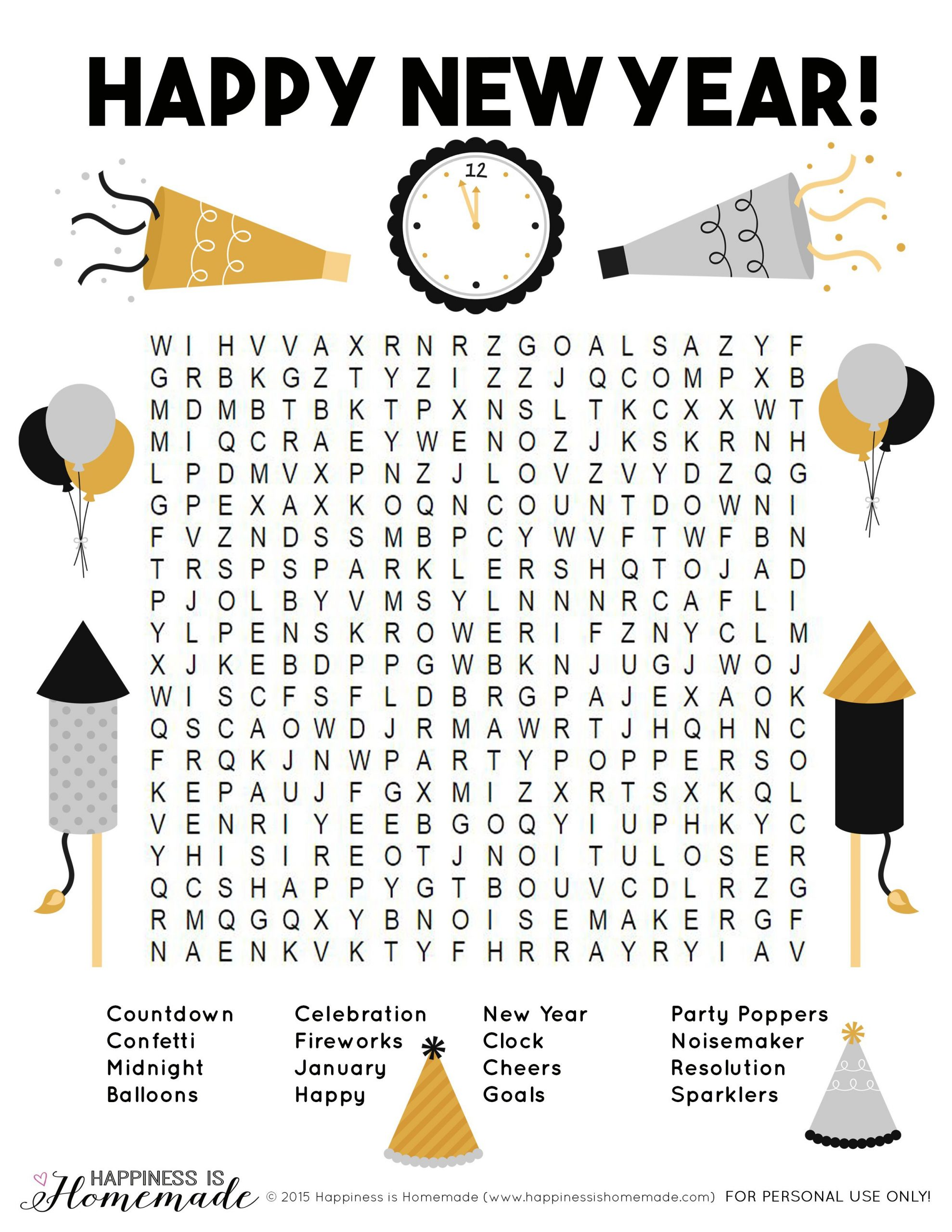 Printable New Year's Word Search + 10 Fun New Year's Eve