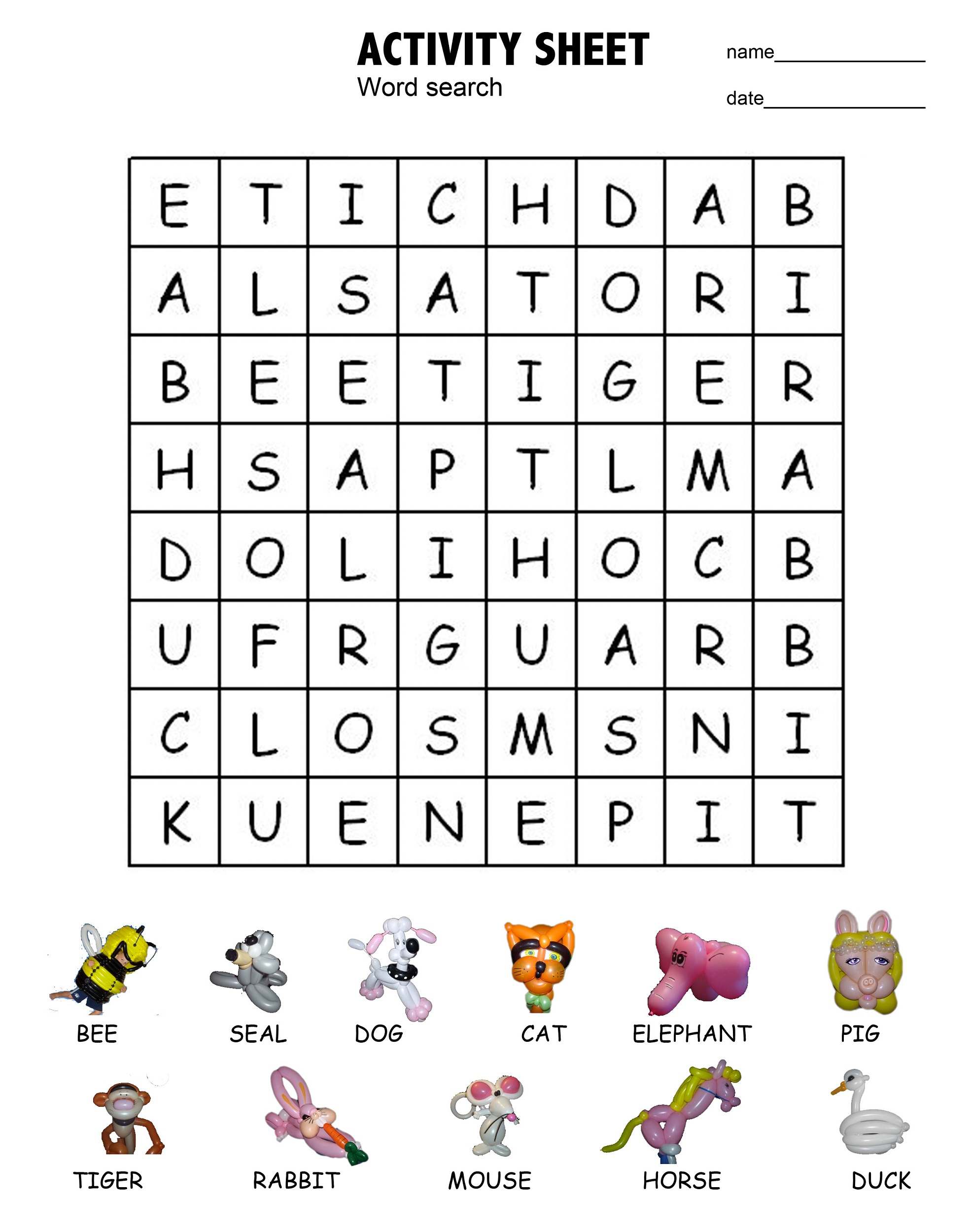Printable Word Search For Kids | Activity Shelter