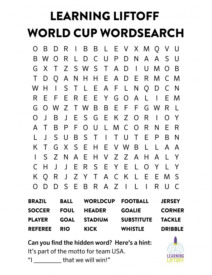 World Cup Word Search 2018 Printable