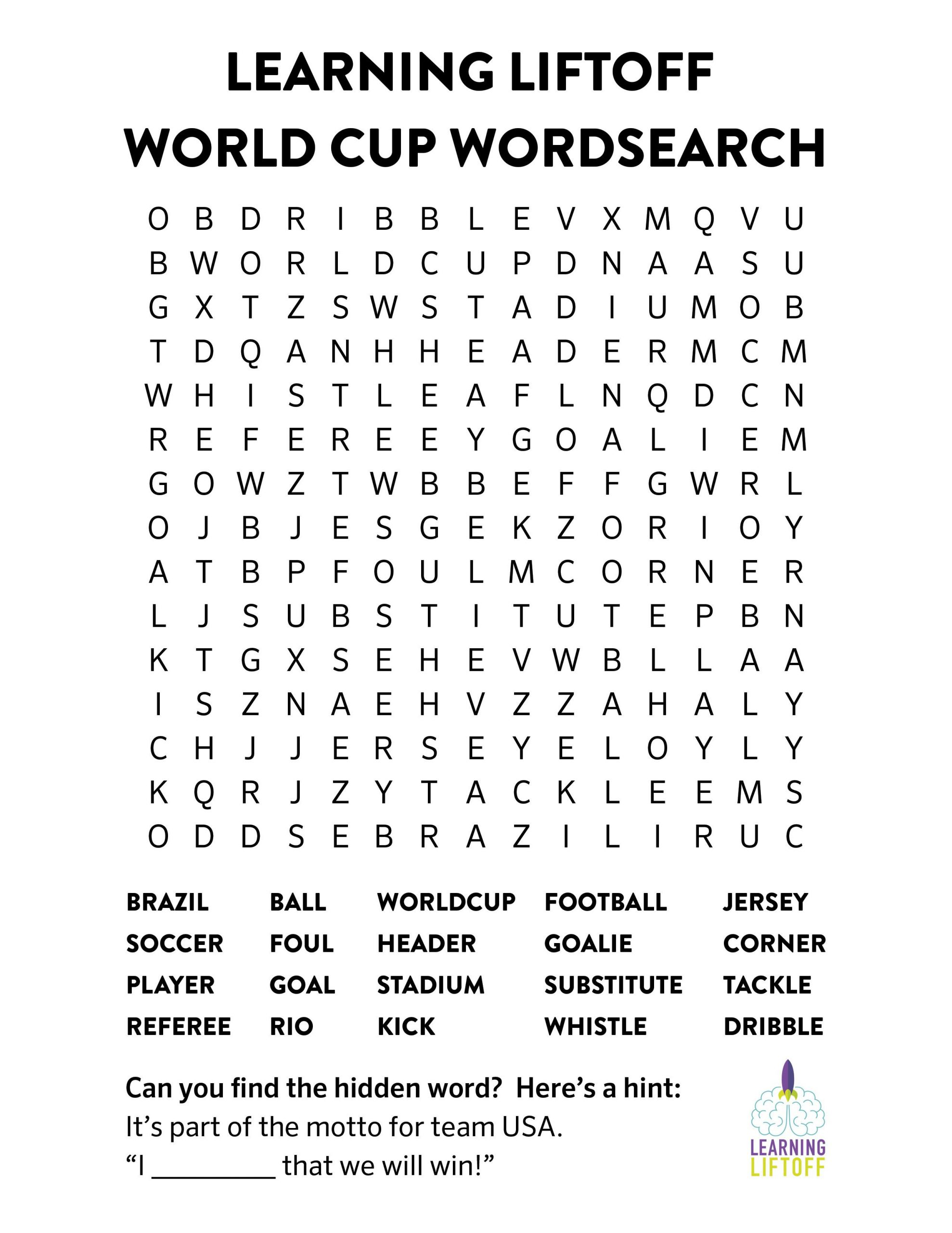 Printable World Cup Word Search | Word Cup, Words, World Cup