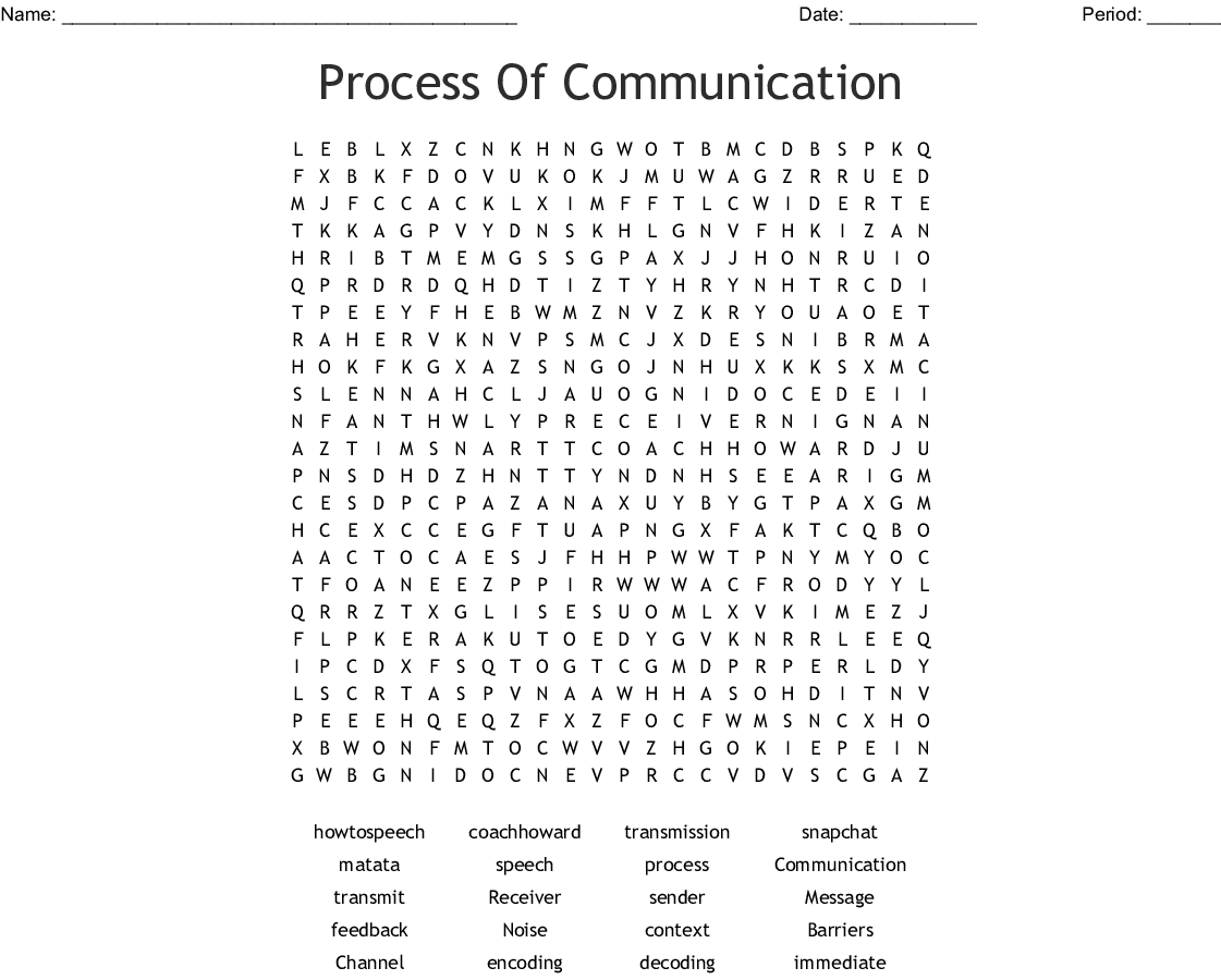 Process Of Communication Word Search - Wordmint