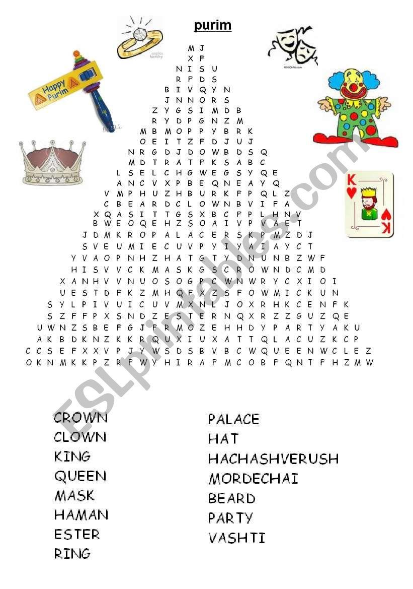 Purim Word Search - Esl Worksheetadva