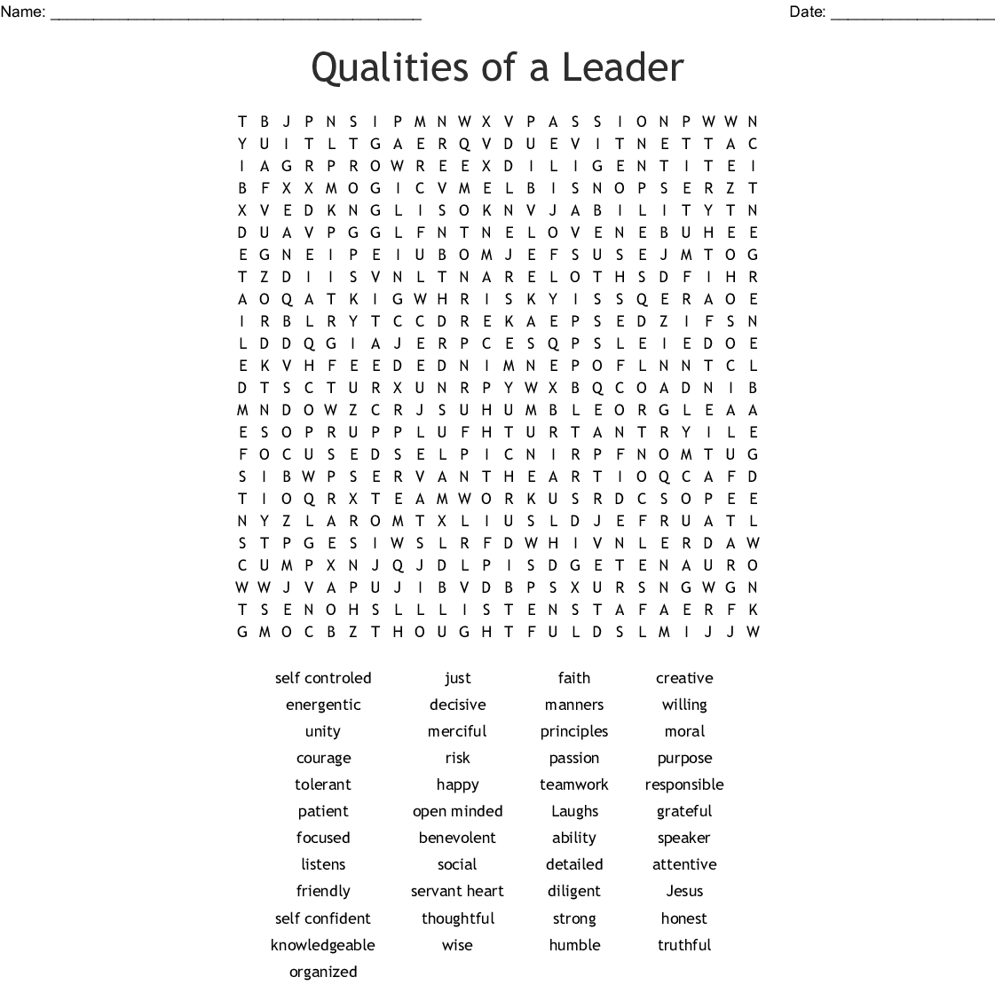 Qualities Of A Leader Word Search - Wordmint