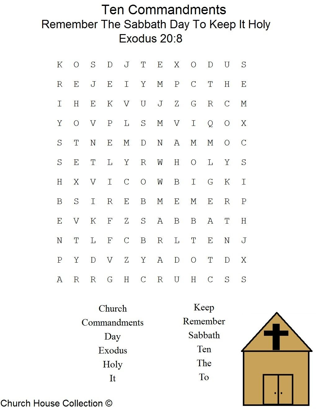 Remember The Sabbath Day To Keep It Holy Word Search Puzzle
