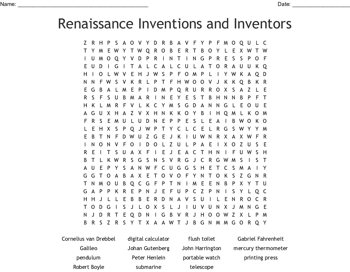 Renaissance Inventions And Inventors Word Search - Wordmint