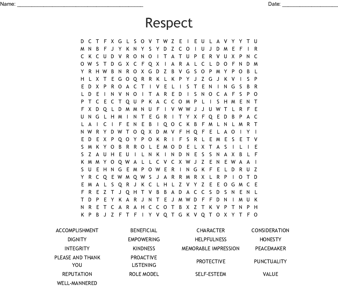 Respect Word Search - Wordmint