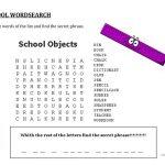 School Wordsearch   Hidden Message   English Esl Worksheets