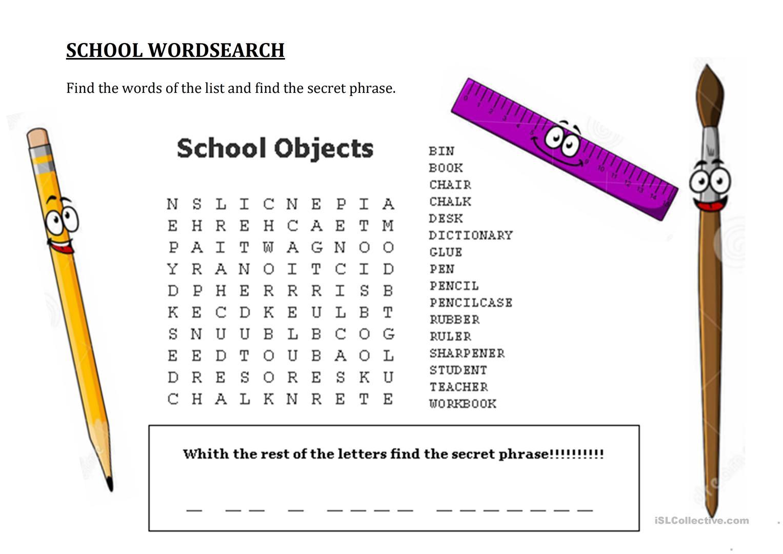School Wordsearch - Hidden Message - English Esl Worksheets