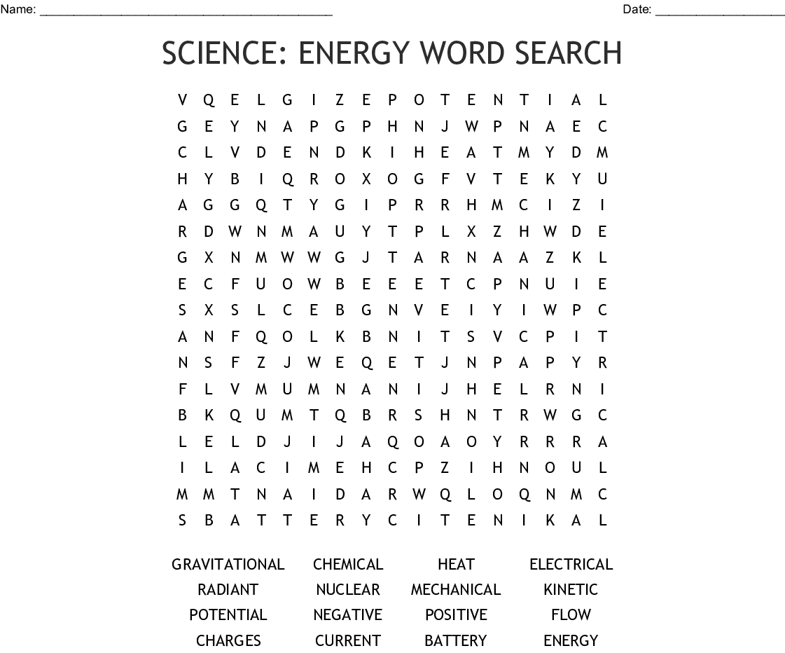 Science: Energy Word Search - Wordmint
