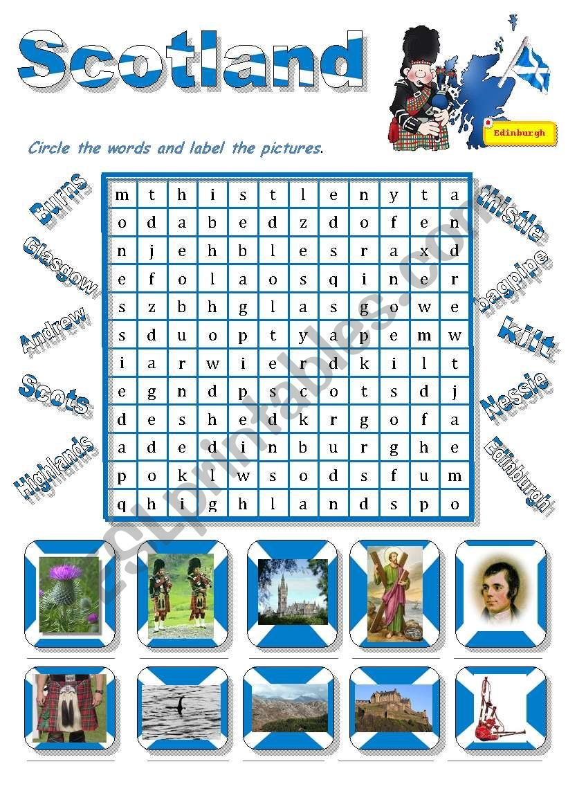 Scotland-A Wordsearch For Young Learners - Esl Worksheet