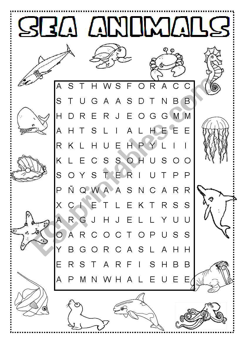 Sea Animals Wordsearch - Esl Worksheetineta