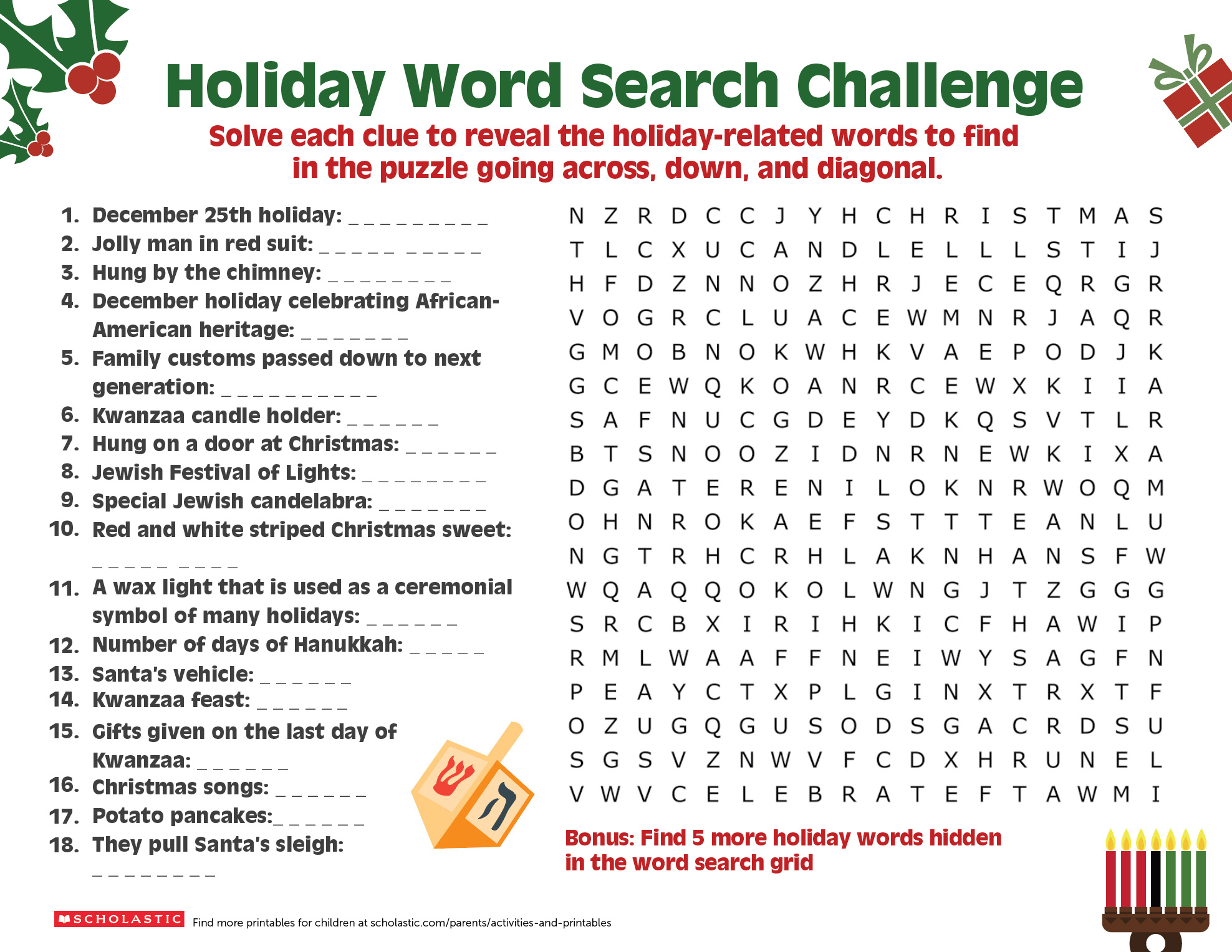 Share A Holiday Word Search-Puzzle With Your Older Child