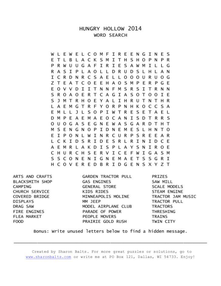 Free Printable Word Searches With Hidden Messages