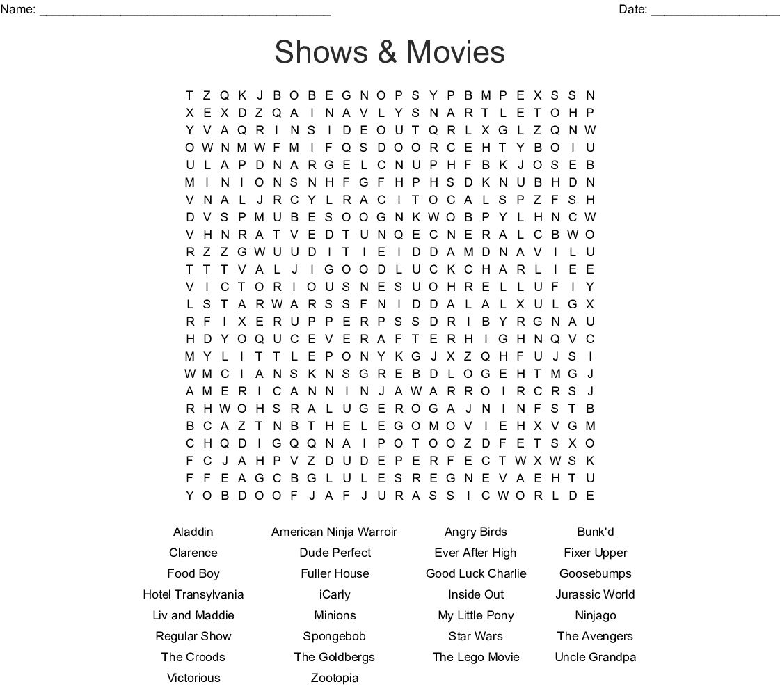Shows & Movies Word Search - Wordmint