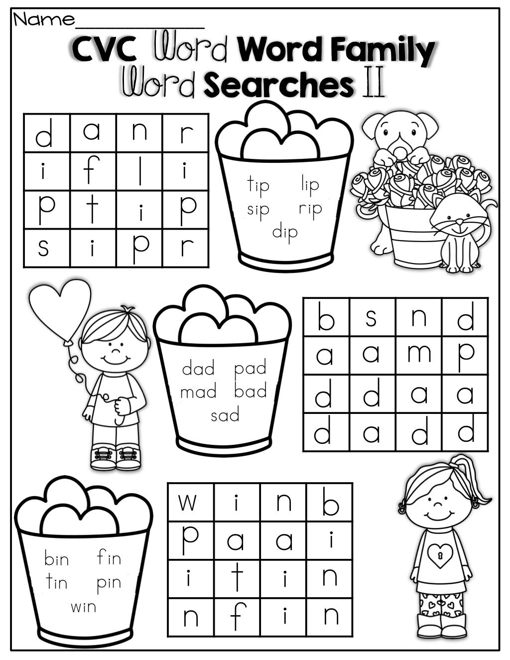 Simple Cvc Word Family Word Search! | Kindergarten Literacy