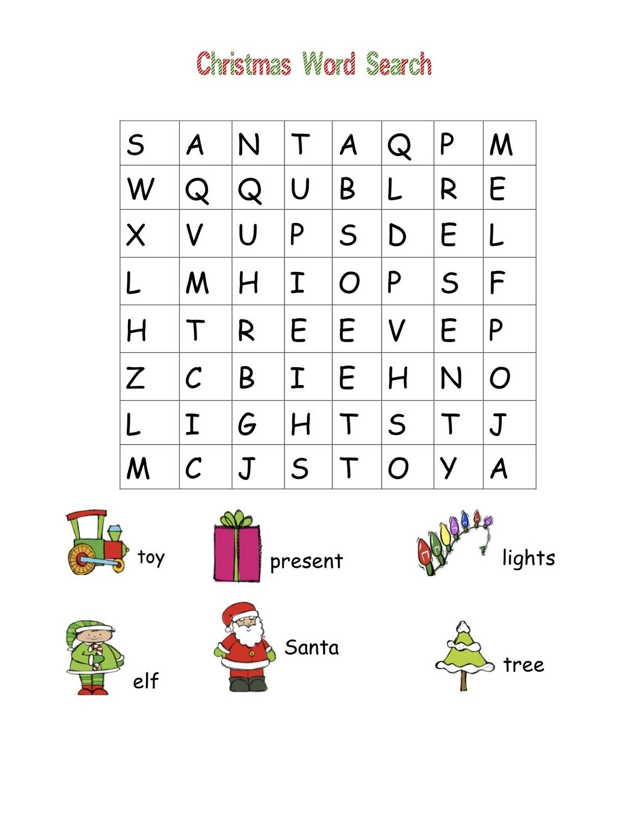 Simple Word Search For Preschool | Christmas Word Search