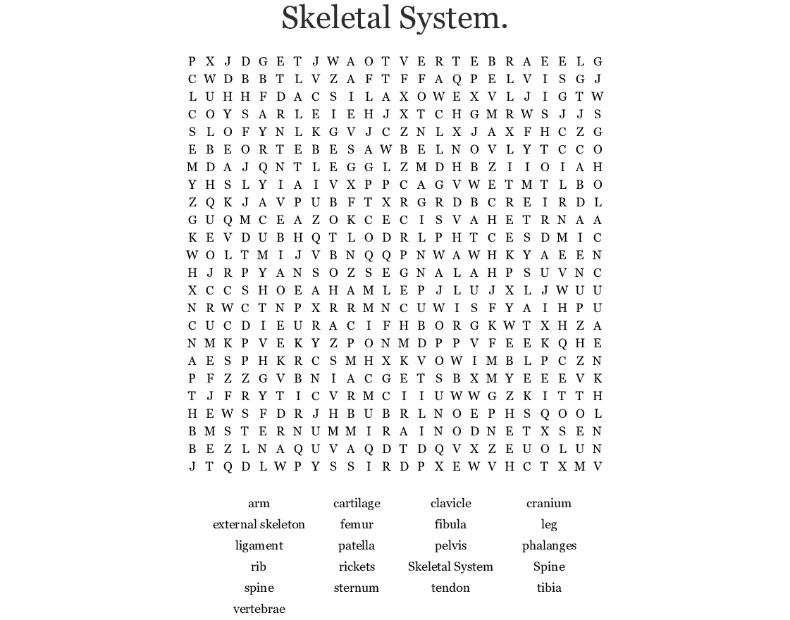 Skeletal System. Word Search - Wordmint