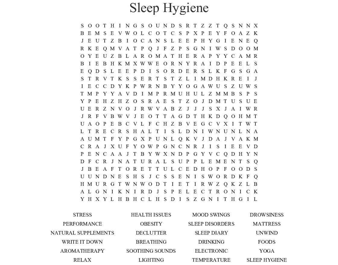 Sleep Hygiene Word Search - Wordmint