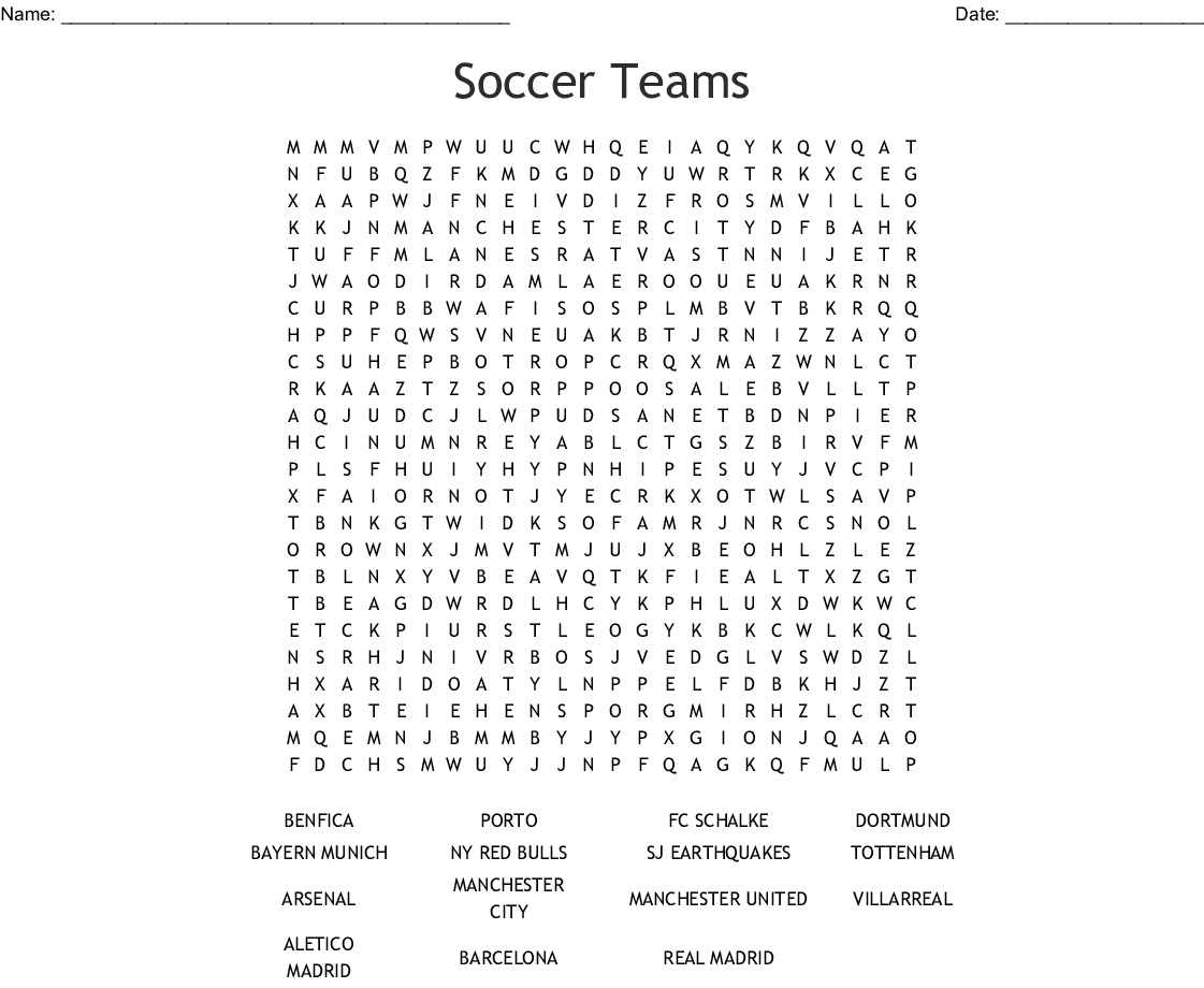 Soccer Teams Word Search - Wordmint