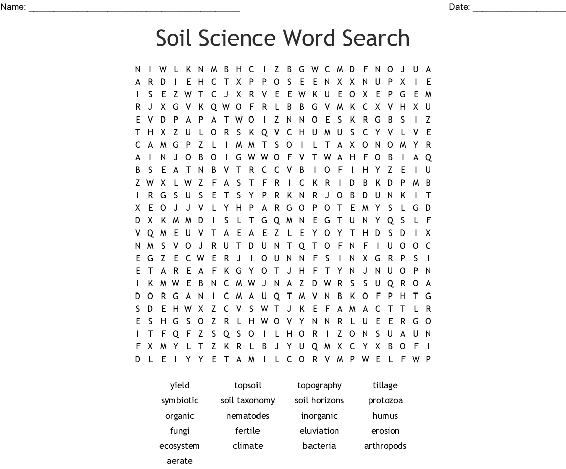 Soil Science Word Search - Wordmint
