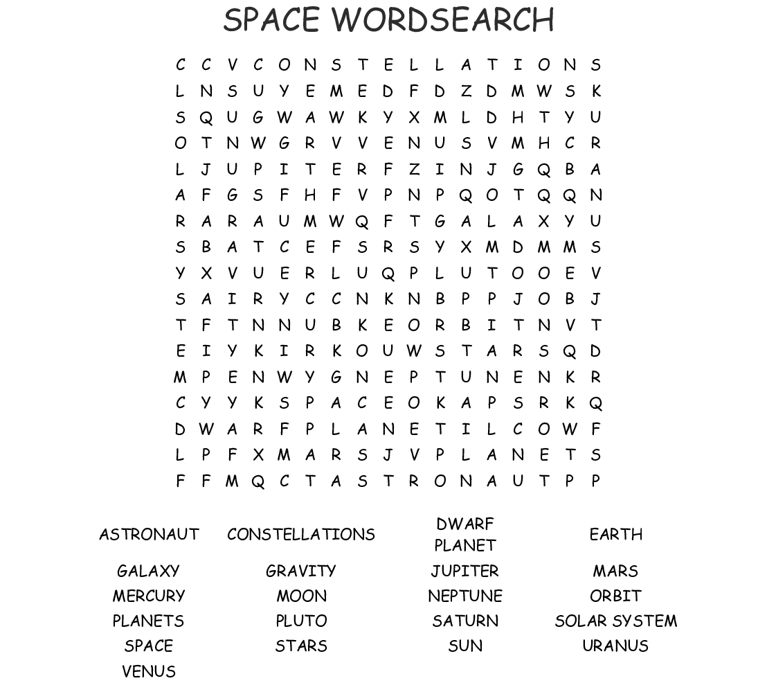 Space Wordsearch - Wordmint