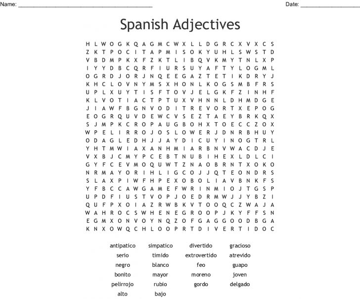 Spanish Word Search Printable