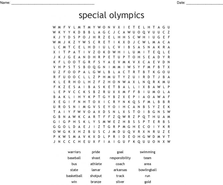Olympic Word Search Printable