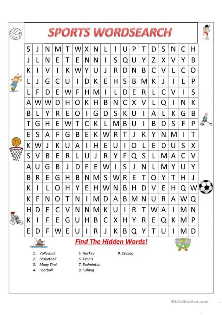 English Word Search Printable