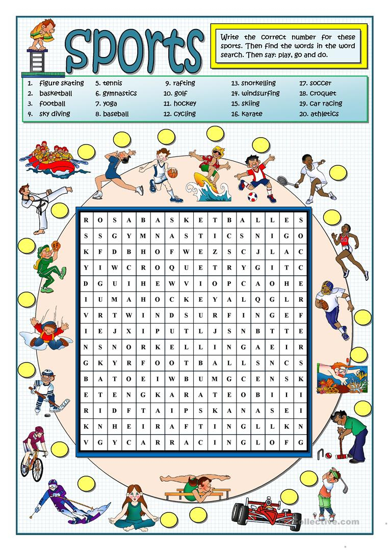 Sports Wordsearch - English Esl Worksheets For Distance