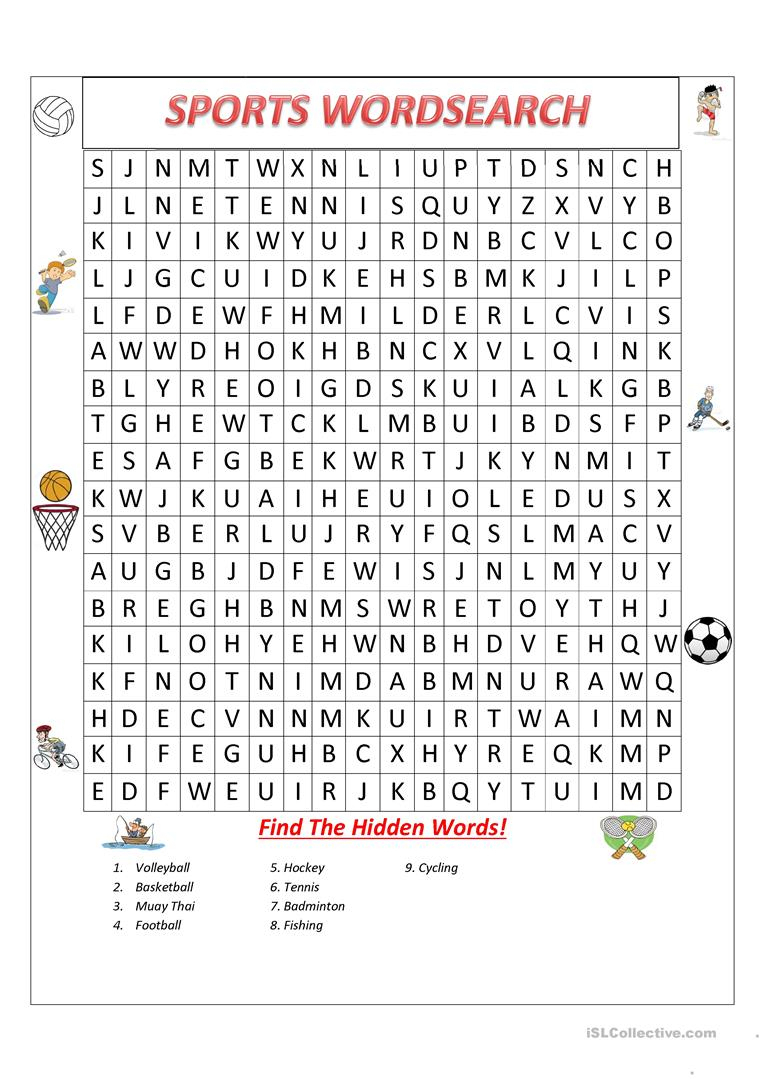 Sports Wordsearch! - English Esl Worksheets For Distance