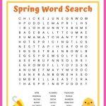 Spring Word Search Free Printable Worksheet For Kids