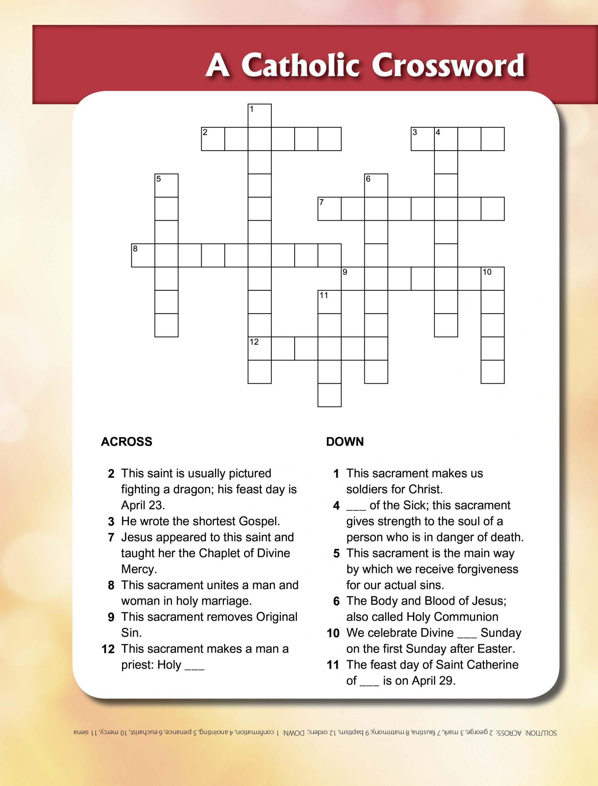 St George & Sacraments Crossword   Sacrament, Printable