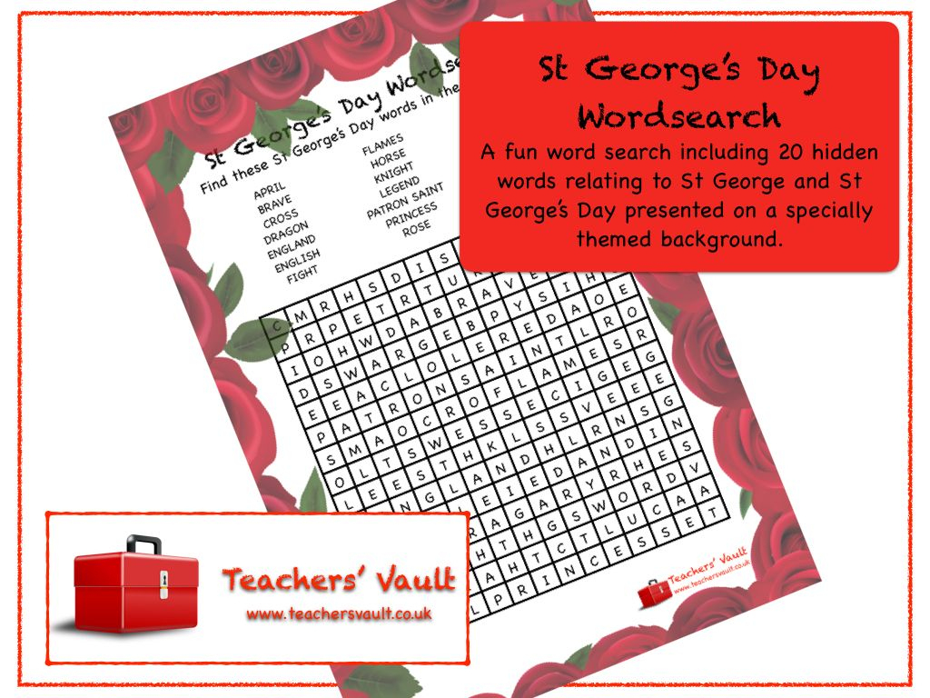 St George's Day Wordsearch | St Georges Day, Day, British Values