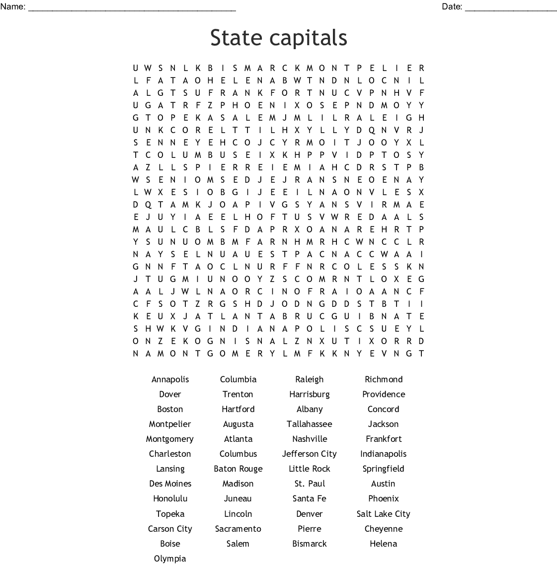 State Capitals Word Search - Wordmint