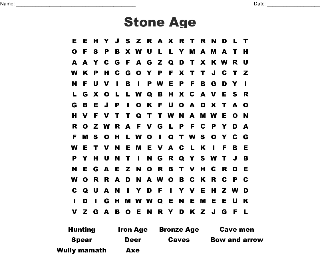 Stone Age Word Search - Wordmint