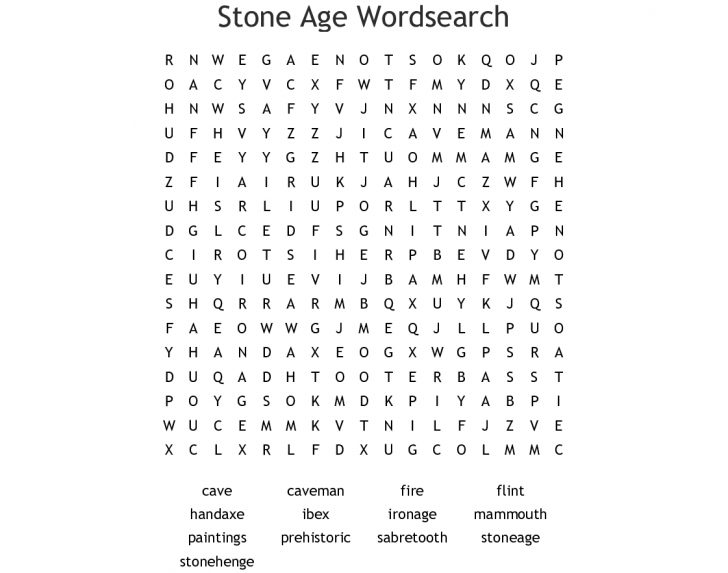 Printable Stone Age Word Search