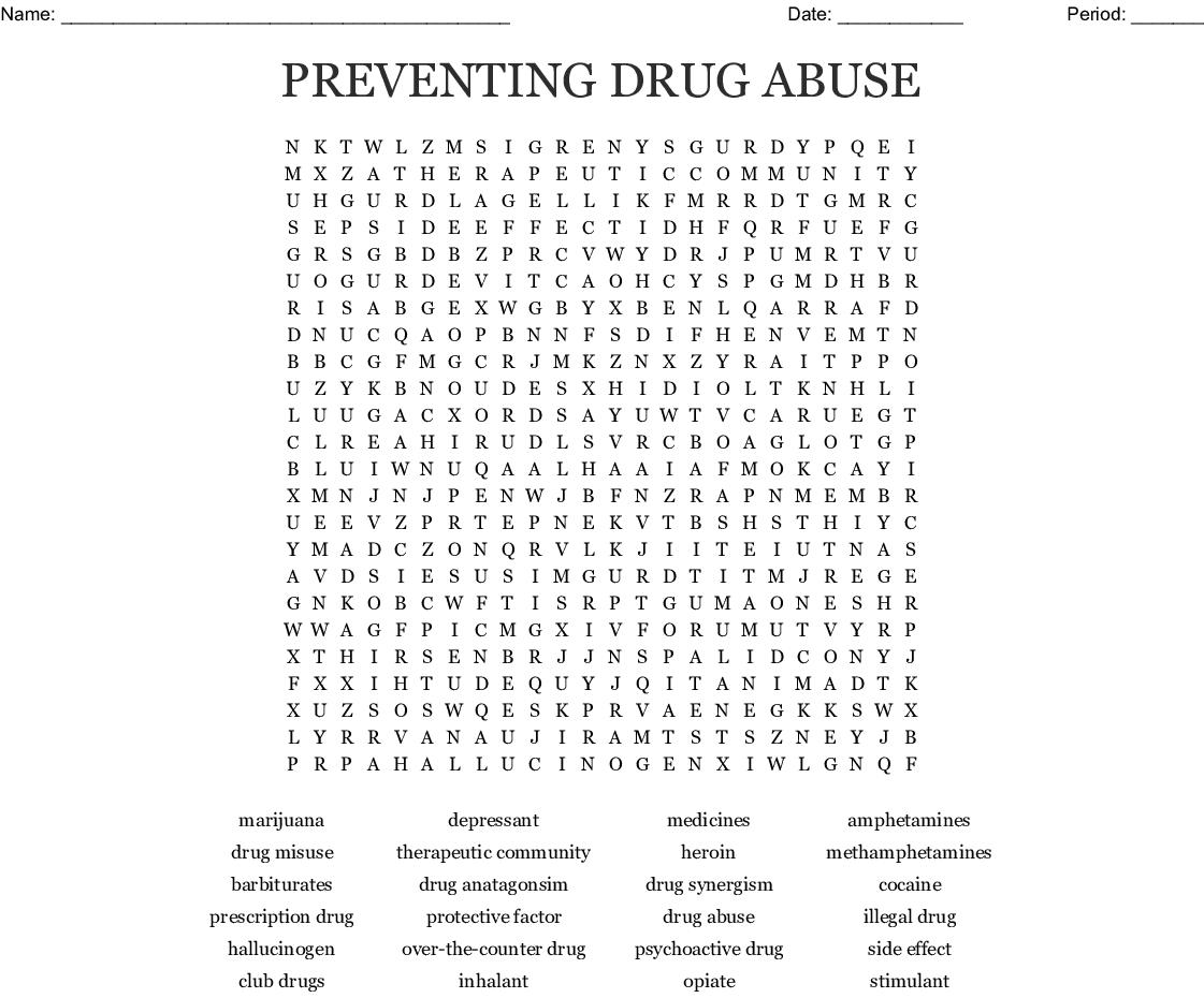 Substance Abuse Word Search - Wordmint